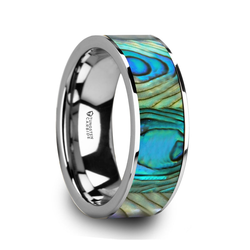 AQUIS Tungsten Men's Flat Wedding Band with Mother Of Pearl Inlay & Polished Finish - 8mm