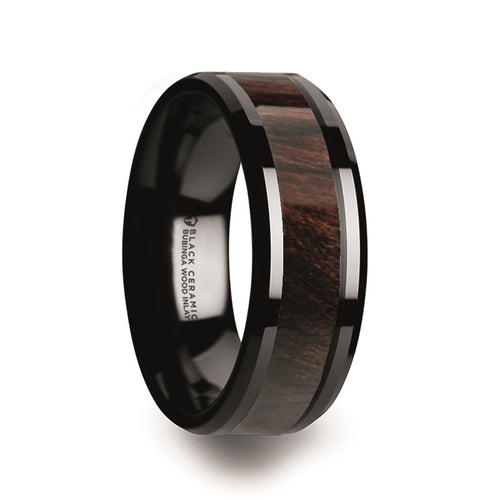 KEVAZE Black Ceramic Polished Beveled Edges Men's Wedding Band with Bubinga Wood Inlay - 8mm