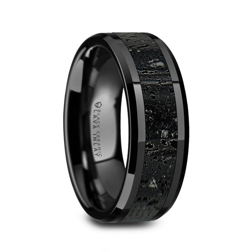 GALERAS Mens Polished Black Ceramic Wedding Band, Black&Gray Lava Rock Stone Inlay, Bevel Edges, 8mm