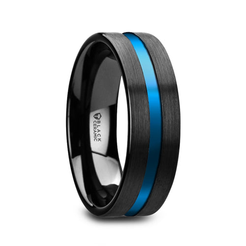PERUGIA Flat Brushed Finish Black Ceramic Men's Wedding Ring with Blue Grooved Center - 8mm