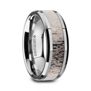ARTEMIS Polished Beveled Tungsten Carbide Men's Wedding Band with Ombre Deer Antler Inlay - 8mm