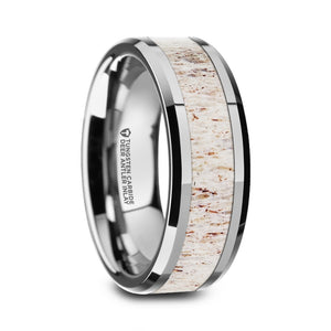 STAG Polished Beveled Tungsten Carbide Men's Wedding Band with Off White Deer Antler Inlay - 8mm