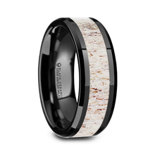 SPIKE Black Ceramic Beveled Men's Wedding Band with Off White Antler Inlay - 8mm