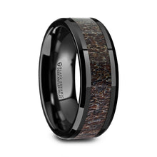 DEERE Black Ceramic Polished Beveled Men's Wedding Band with Dark Brown Antler Inlay - 8mm