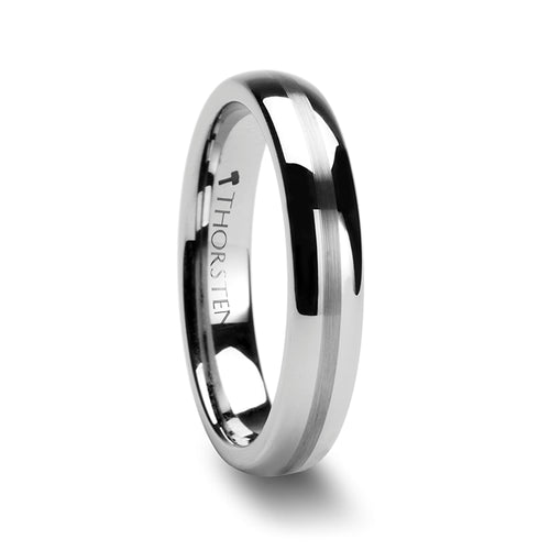 TALBOT Domed Tungsten Carbide Ring with Brushed Stripe - 4mm - 12mm