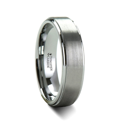 ARTHUR Brush Finish Tungsten Carbide Ring with Raised Center - 4mm - 12mm