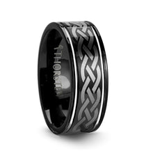 WEXFORD Black Tungsten Carbide Ring with Celtic Design - 8 mm