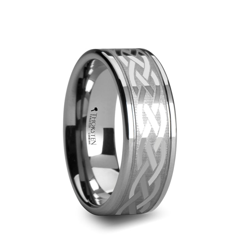 SULLIVAN Pipe Cut Tungsten Carbide Ring with Celtic Design - 8mm & 10mm