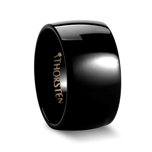 EKON Black Domed Tungsten Carbide Ring - 12mm
