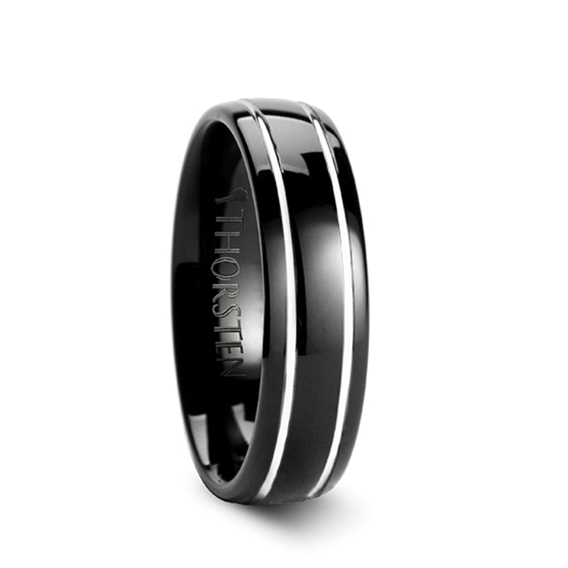 OBSCURA Black Domed Tungsten Carbide Ring with Offset Grooves - 6mm & 8mm