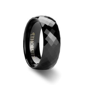 GLIMMER Black Diamond Faceted Tungsten Carbide Ring - 4mm - 8mm
