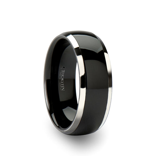 DAGEN Domed Black Ceramic with Tungsten Inlay Ring- 6mm - 10mm