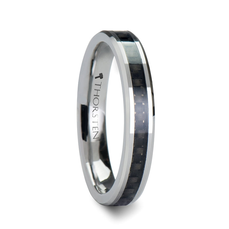 GLADIATOR Tungsten Carbide Wedding Ring with Black Carbon Fiber Inlay - 4mm - 12mm