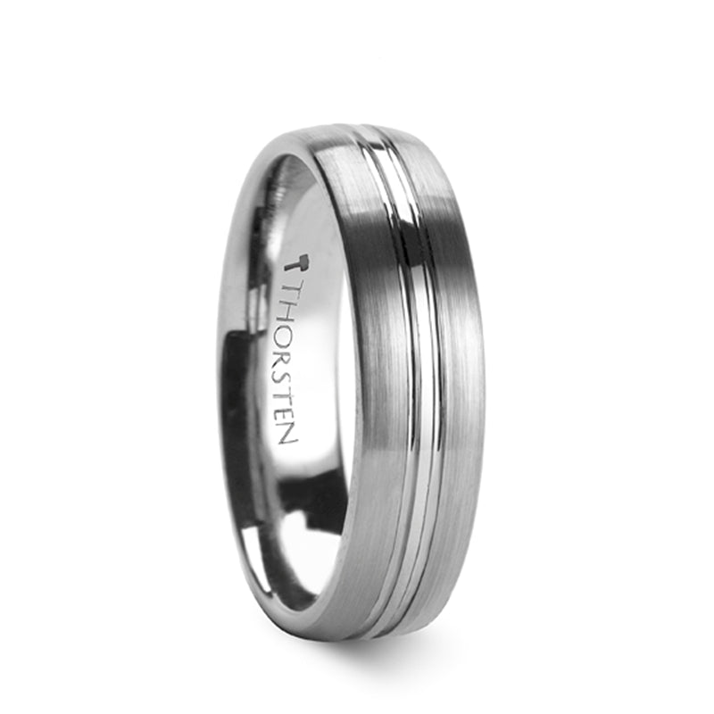 LUTHER Rounded Brushed Center Groove Tungsten Carbide Ring - 6mm & 8mm