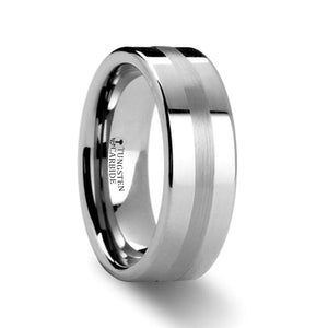 TOBIAS Platinum Inlaid Pipe Cut Tungsten Carbide Ring - 6mm & 8mm