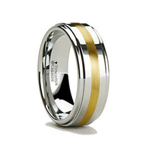 GRAYSON Raised Center Tungsten Carbide Ring with Gold Inlay