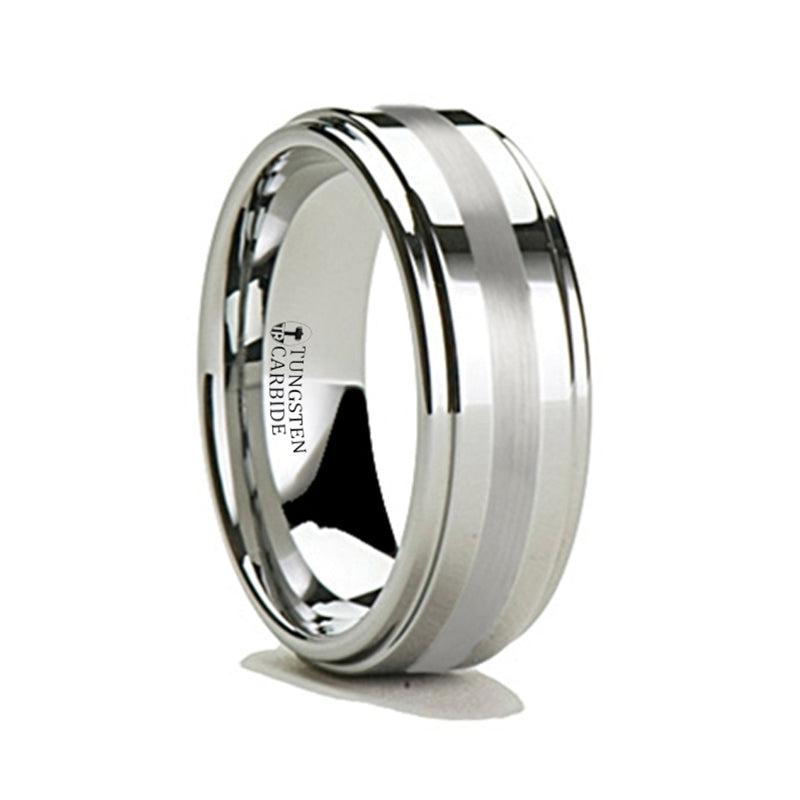 CHURCHILL Silver Inlaid Tungsten Carbide Ring with Raised Center