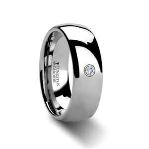 HARTLEY Rounded Tungsten Ring with Diamond - 4mm - 8mm