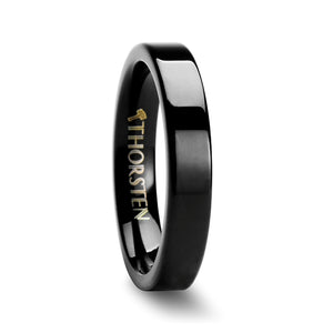BERLIN Pipe Cut Black Tungsten Carbide Ring - 4mm - 12mm
