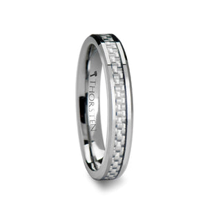ARES Beveled Tungsten Carbide Ring with White Carbon Fiber Inlay 4mm - 12mm