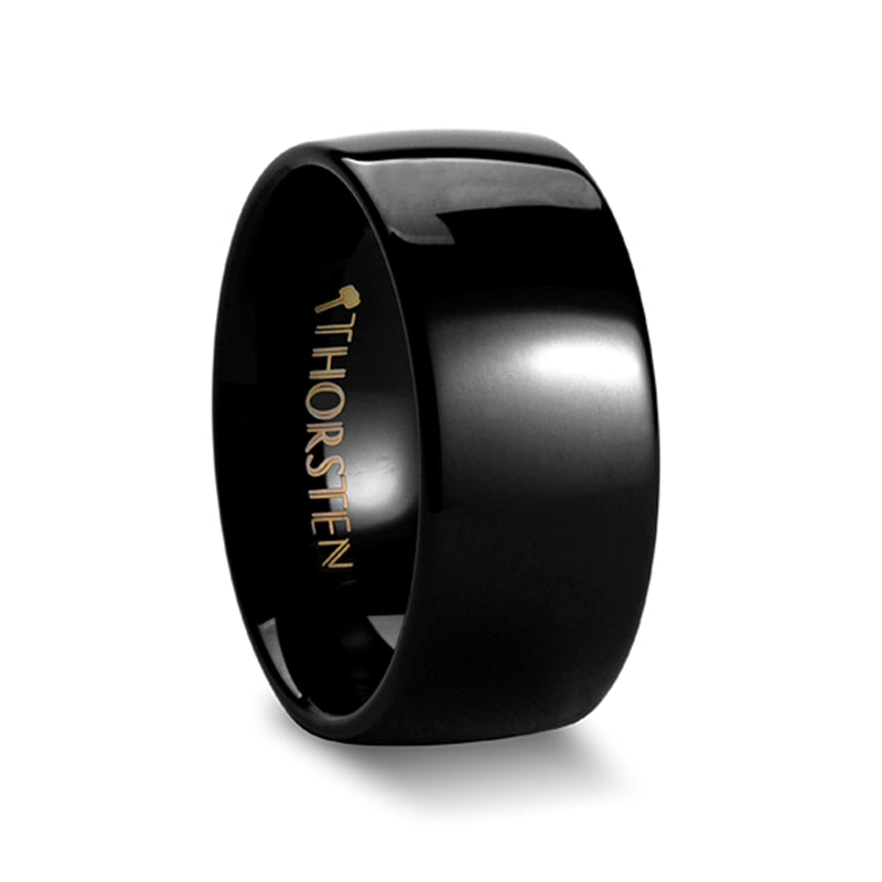 DRAX Rounded Black Tungsten Carbide Ring - 10mm