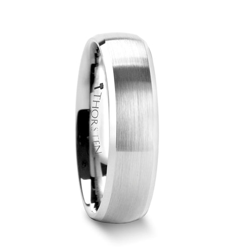 PICARD Rounded Brushed Finish Tungsten Carbide Ring with Polished Bevels - 6mm & 8mm