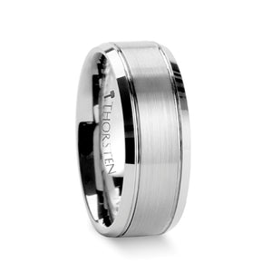 GALLAN Brushed Center Tungsten Wedding Carbide Ring with Polished Bevels- 6mm & 8mm
