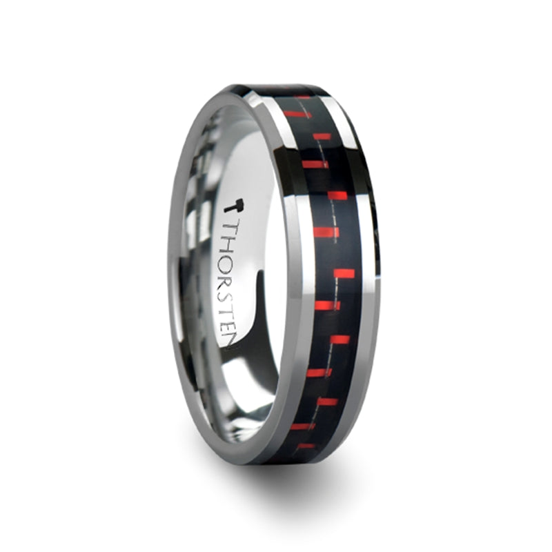 MATEO Tungsten Carbide Ring Inlaid with a Black & Red Carbon Fiber - 6mm & 8mm