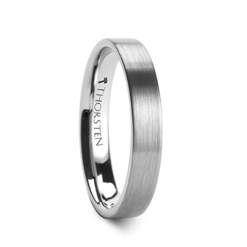 ANA Brushed Finish Flat Tungsten Carbide Ring - 4mm & 6mm