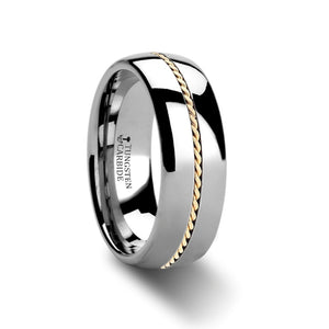 NASH Domed Tungsten Carbide Ring with Braided 14k Gold Inlay - 6mm & 8mm