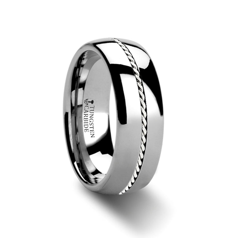 ELIJAH Domed Tungsten Carbide Ring Braided Platinum Inlay - 6mm & 8mm