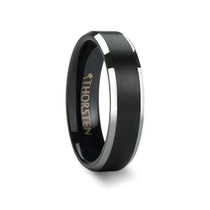AREN Black Brushed Center Tungsten Carbide Ring with Polished Beveled Edges - 4mm - 10mm