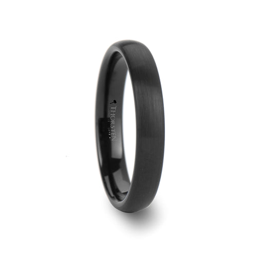 HITCHCOCK Round Brush Finished Black Tungsten Carbide Ring- 4mm - 12mm