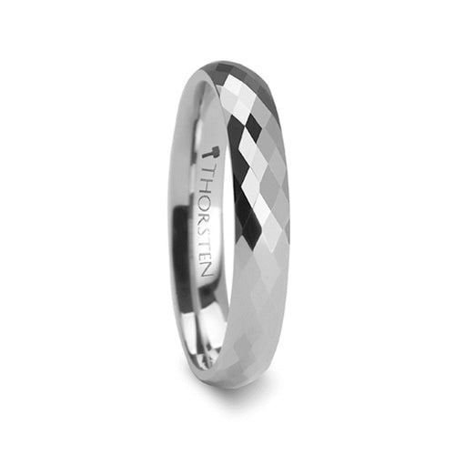 GEO Diamond Faceted White Tungsten Carbide Ring - 4mm & 6mm