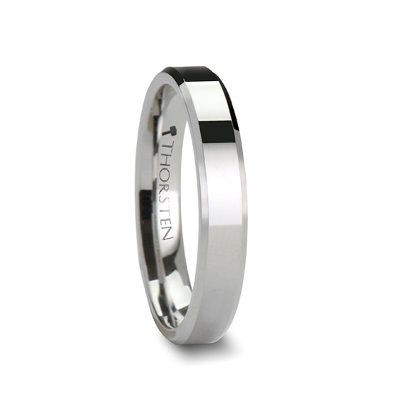 ALMA White Tungsten Carbide Ring with Beveled Edges - 4mm & 6mm