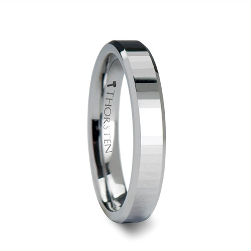 AMARA Beveled Tungsten Carbide Ring with Narrow Rectangular Facets - 4mm & 6mm