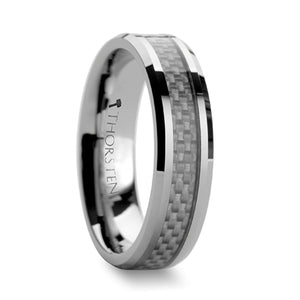 CALISTA Beveled Tungsten Carbide Ring with White Carbon Fiber Inlay - 4mm & 6mm