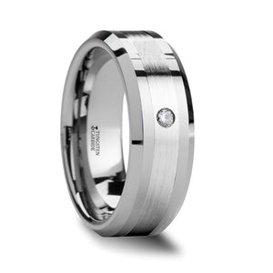 GARFIELD Beveled Tungsten Carbide Ring with Palladium Inlaid and Diamond - 8mm