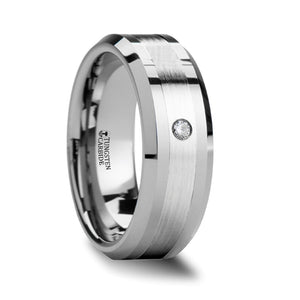 FRANCO Beveled Tungsten Ring with Platinum Inlaid and Diamond - 8mm