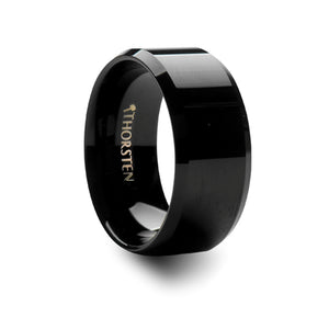 HEATHCLIFF Beveled Black Tungsten Carbide Ring - 10mm