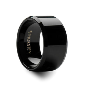 BARROW Beveled Black Tungsten Carbide Ring - 12mm