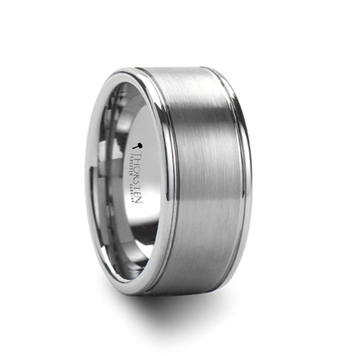 VINCENT Wide Pipe Cut Brush Finished Center Tungsten Carbide Ring - 10mm