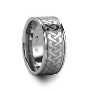 NIALL Celtic Knot Laser Engraved Tungsten Carbide Ring Wide - 10mm