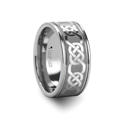 NIAL Celtic Laser Engraved Tungsten Carbide Ring - 10 mm