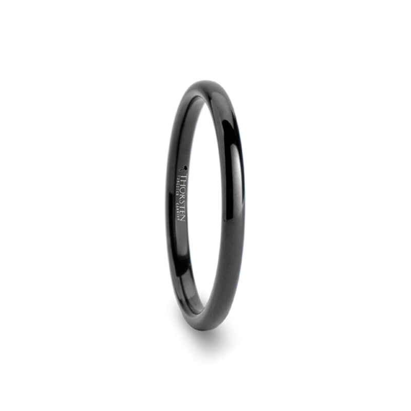 CARA Domed Black Tungsten Carbide Ring - 2mm