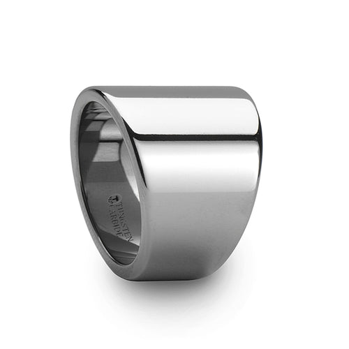 BRUTUS Polished Finish Flat Tungsten Carbide Ring with Asymmetrical Widths - 20mm