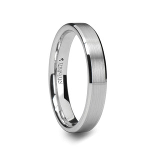 GALLAGHER White Tungsten Carbide Ring with Brushed Center and Beveled Edges - 4mm - 10mm