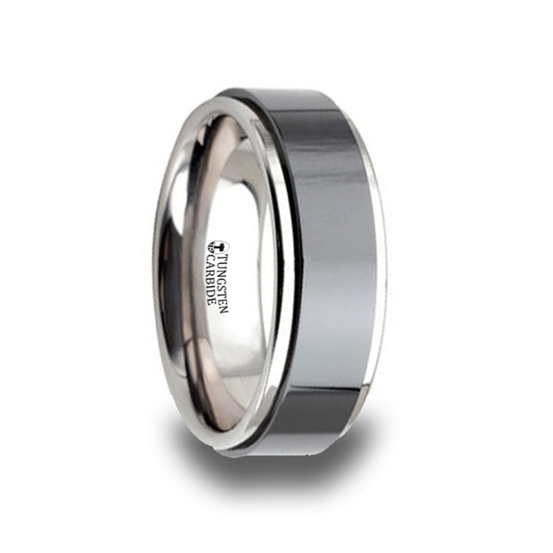 HAMILTON Tungsten Carbide Ring with Raised Black Brushed Ceramic Center - 8 mm