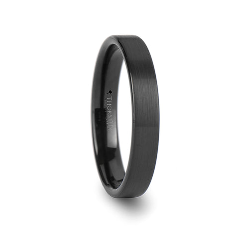 HELENE Black Pipe Cut Tungsten Carbide Ring with Brushed Finish - 4mm & 6mm
