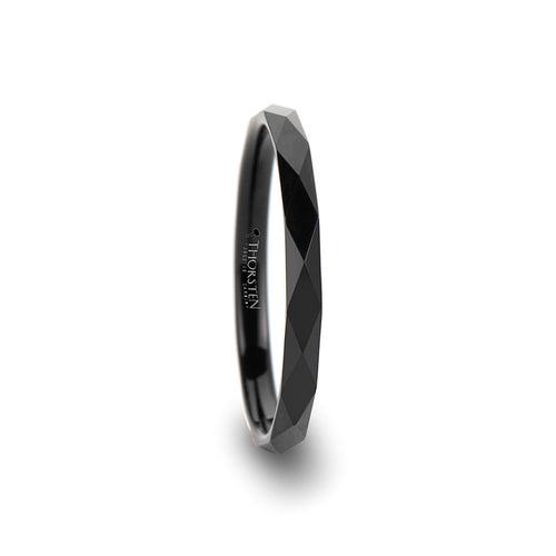 GLAM Diamond Faceted Black Tungsten Carbide Ring - 2 mm